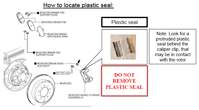 Note the location of the plastic seal. If dislodged, it may be in contact with the rotor. -