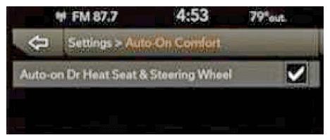 Auto-On Comfort screen example. -
