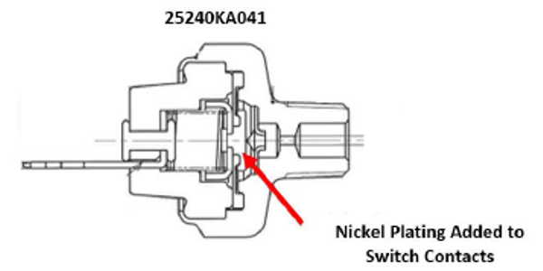 New switch 25240KA041 features the addition of nickel plating on switch contacts.