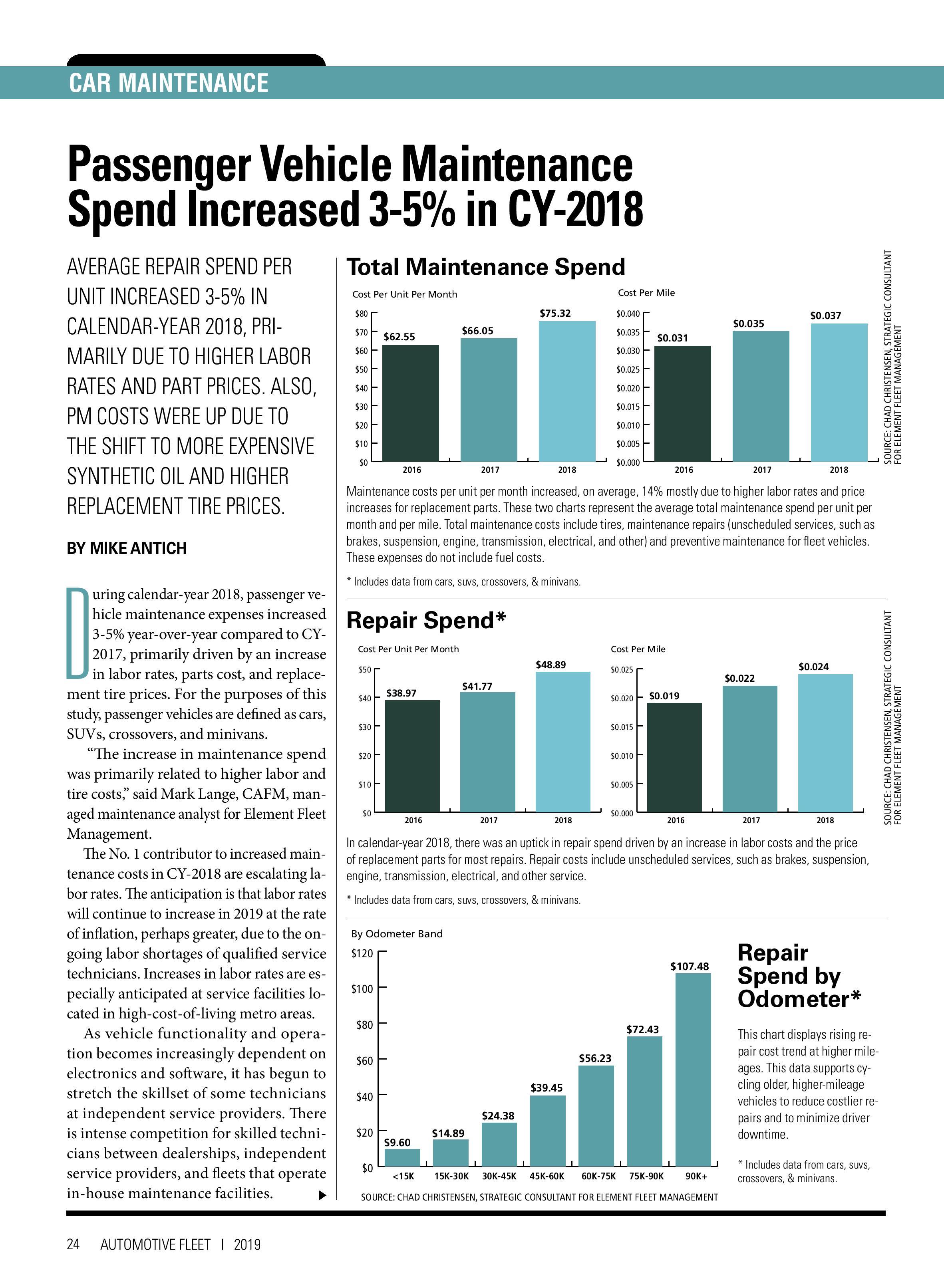 2018 Maintenance Statistics