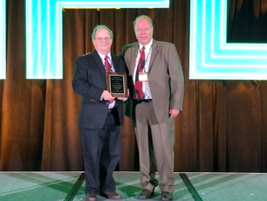 Joe LaRosa (left) accepted the plaque representing his induction into the 2019 Fleet Hall of...