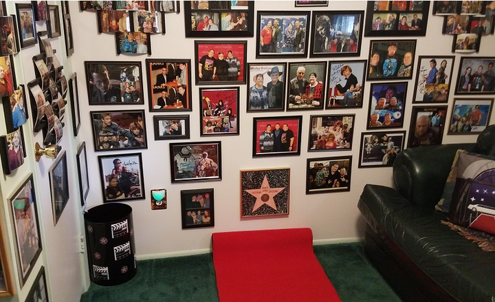 "The ""Celebrity Room"" is lined with red carpet.