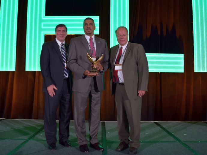 Posing with Kenneth Jack are John Wysseier (left), president and CEO of The CEI Group, which is the sole sponsor of the award, and Mike Antich, representing AFLA, and will serve as the association's president in 2021.  - Photo by Andy Lundin.