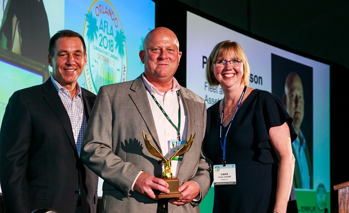 Phil Samuelson, fleet and capital asset manager of USIC, received the 2018 Edward J. Bobit Professional Fleet Manager of the Year award at Automotive Fleet & Leasing Association (AFLA) Conference last year