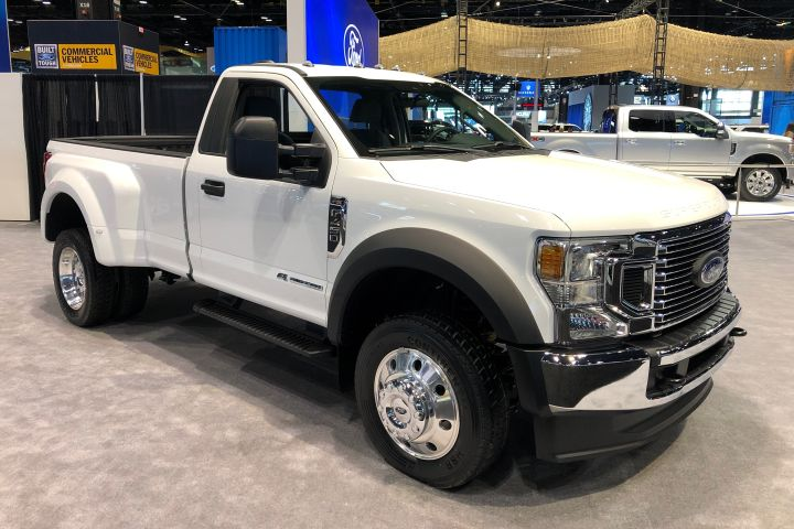 Ford's 2020 Super Duty lineup of F-250, F-350, and F-450 (shown) pickups add a 7.3L V-8 gasoline engine and automatic emergency braking.