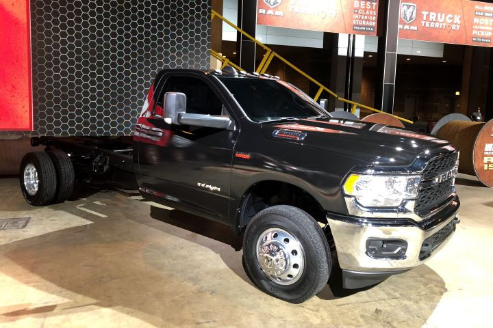 Ram's upgraded 2019 3500 (shown), 4500, and 5500 chassis-cab trucks boost capability, technology, and comfort features.