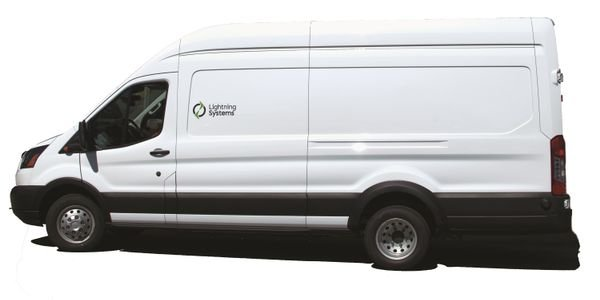 The retail price for Lightning Systems' 60-mile electric Ford Transit powertrain option is about...