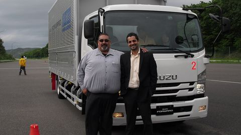 Yogi Shivdasani (right), VP, North America supply chain, LKQ Corporation, at Isuzus testing...