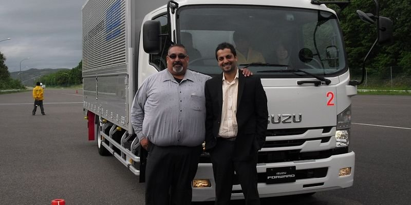 Yogi Shivdasani (right), VP, North America supply chain, LKQ Corporation, at Isuzus testing...