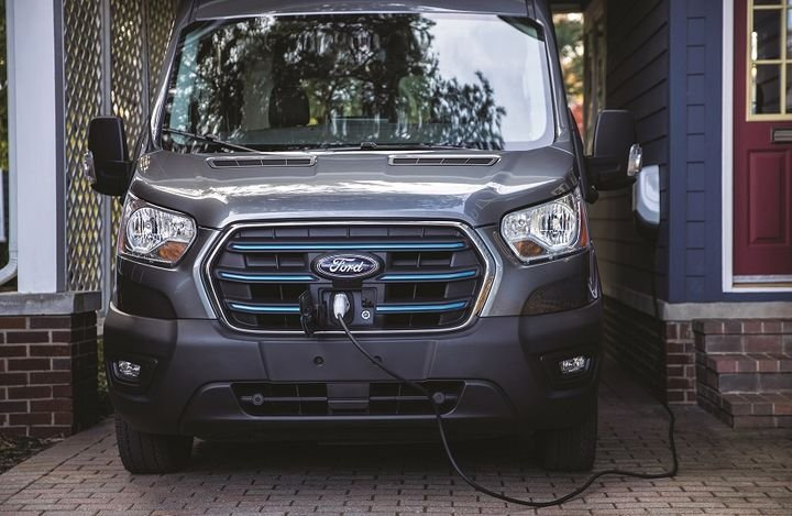 The standard Ford mobile charger will deliver up to 10 miles of range per charging hour plugged into a 240-volt outlet. Also offered is the Ford Connected Charge Station, which can charge a fully depleted Transit battery to 100% in 8 hours. - Photo: Ford