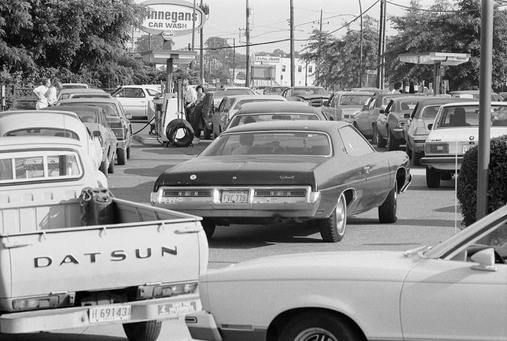 The oil crisis led to long lines for gas. -