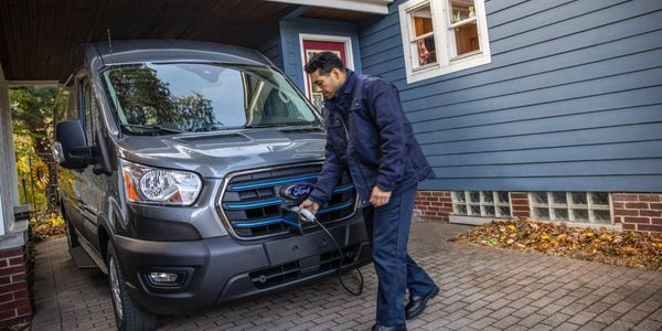 The 2022 Ford E-Transit will be charged at the depot, on the road, and at drivers' homes. In...