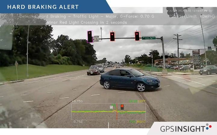 GPS Insight's Driveri system records video of various incident types, including hard braking. While telematics data would score this as a negative incident, the video footage delivers greater context by showing that the driver swerved to avoid another erratic vehicle. - Image courtesy of GPS Insight