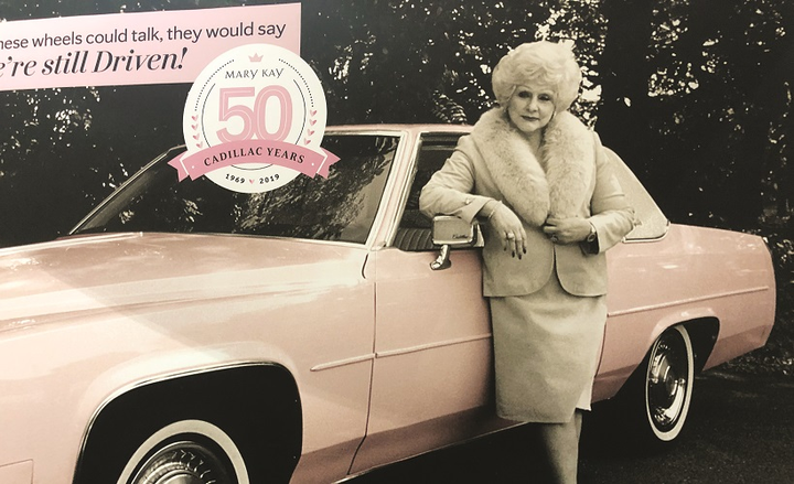 Mary Kay Ash, the founder of Mary Kay, ordered her first pink Cadillac Coupe DeVille from the Frank Kent Cadillac dealership in Ft. Worth, Texas, and asked to have it painted to match the pale pink Mary Kay lip and eye palette she carried in her purse.
