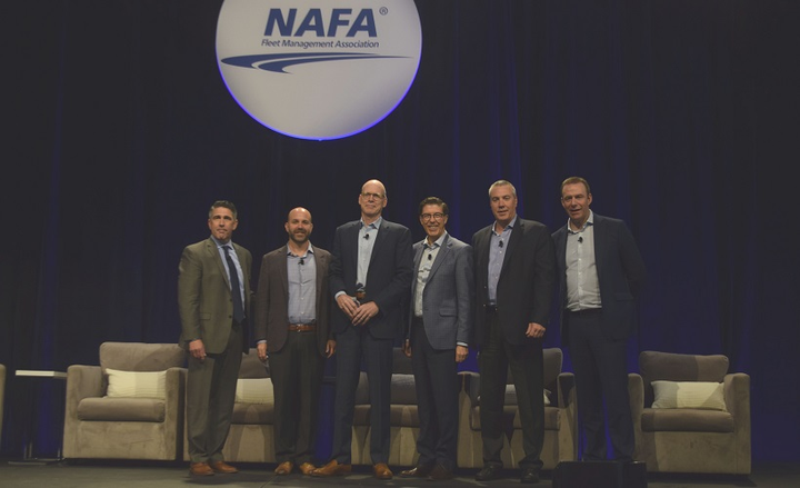The final day of the NAFA I&E 2019 kicked off with a fleet management executive panel, featuring executives from several fleet management companies who spoke on their vision of the future of fleet. (l to r) Moderating the panel was Mike Joyce, executive director, American Automotive Leasing Association (AALA). FMC speakers present were Dan Frank, CEO and president, Wheels, Inc.; Tom Callahan, president, Donlen; Jay Forbes, CEO, Element Fleet Management; Bob White, president, ARI; and Matt Dyer, CEO and president, LeasePlan USA.