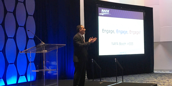 Russo speaks at the opening session of the 2019 NAFA I&E.