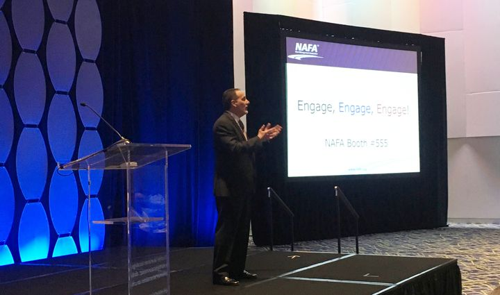 Russo speaks at the opening session of the 2019 NAFA I&E. - Photo by Andy Lundin