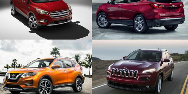 (clockwise upper l. to r.) Photos of 2017 Escape, 2018 Equinox, 2015 Jeep Cherokee, 2017 Rogue...