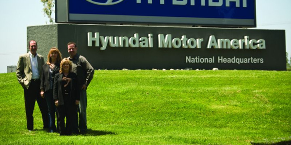 Hyundai Motor America is headquartered in Fountain Valley, Calif. Standing near the entrance of...