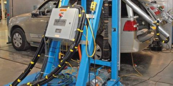 In the Ford test lab, a variety of vehicle component tests are conducted.