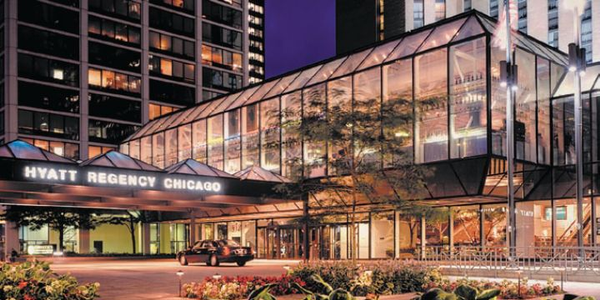 The Hyatt Regency Chicago hotel is located within the city's Magnificent Mile, what locals refer...