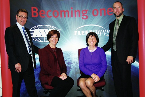 """""""Becoming One"""" was the theme of the announcement of ARI's acquisition of Fleet Support Group. Pictured with founders of FSG Geoffrey Bray (left) and Ina Bray (3rd from left) are Kathy Mullin, VP and general counsel of Holman Automotive, and Brian Bates, senior VP, finance and CFO of ARI."""