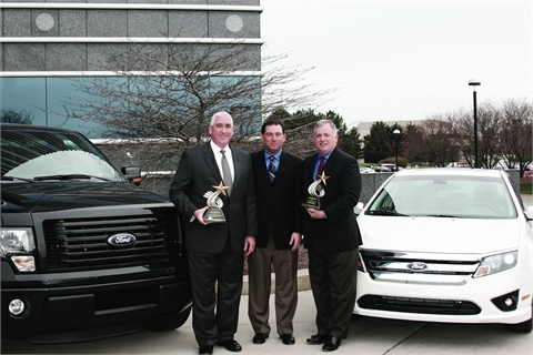 AF's Bob Brown (center), Great Lakes sales manager, presented the Fleet Car & Truck of the Year trophies to John Ruppert (left), general manager of Ford Commercial Sales, and Kevin Koswick, director of Ford North American Fleet, Lease, and Remarketing Operations.