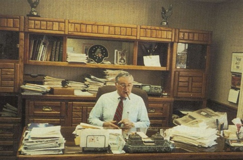 Ed Bobit, in his office, 1990