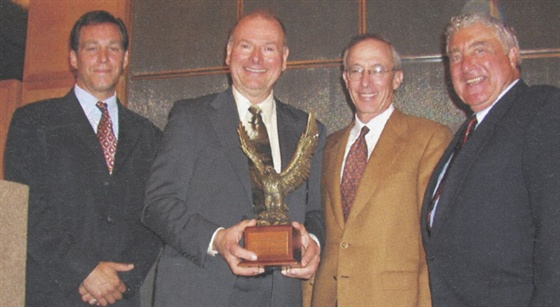 (left to right) Sherb Brown, VP/group publisher of Automotive Fleet; Henry Paetzel, Jim Frank, president/CEO of Wheels Inc., Ed Bobit, publisher/CEO of Bobit Business Media.