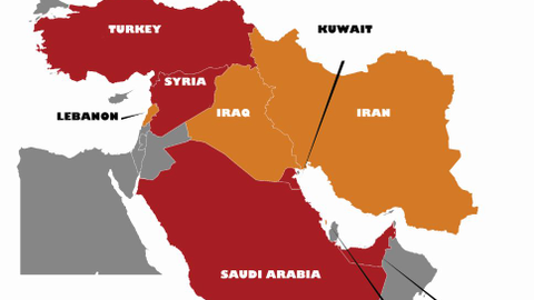 Graphic of the Middle East courtesy of Getty Images.