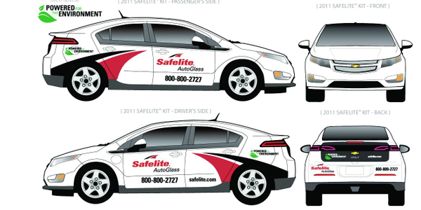 Shown above are different angles of the Chevrolet Volt with the Safelite AutoGlass branding....