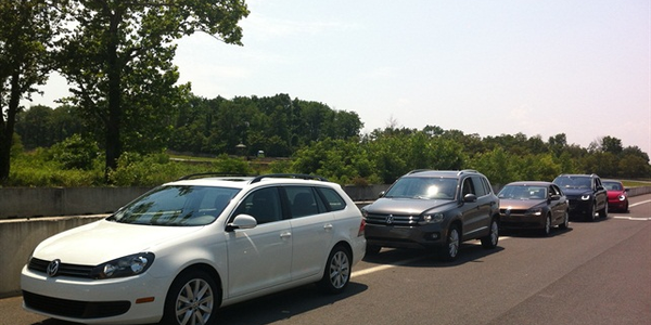 A lineup of VW's 2013-MY vehicles at its fleet preview in Herndon, Va.