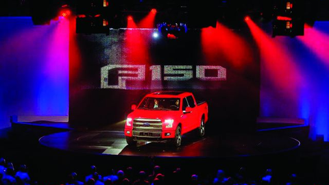 The all-new aluminum F-150 was introduced with Las Vegas glitz during the Ford Fleet Preview,...