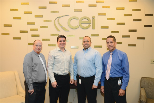 The four latest executive appointments at The CEI Group are (L-R) Randy Denmyer, vice president of accident management services, Ken Latzko, vice president of sales and marketing, Chris Villella, vice president of strategic relationship management, and Eliot Bensel, vice president of account development. Photo: CEI