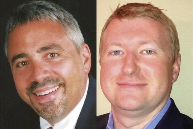 Fisher's Joe Vaughn (left) and Donlen's Nicholas Ehrhart