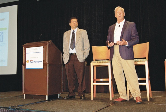 Ford's Shounak Athavale (left), IT Manager/Experimental Lead for Fleet Insights, and Chris Miotke, practice principal in the Americas for HP, present the findings of the Fleet Insights experiment during the Global Fleet Conference in Miami. Photo courtesy of Ford.