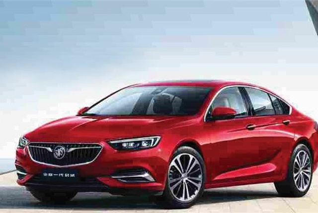 The 2018 Buick Regal made its official debut at the 2017 Shanghai Auto Show. The Chinese version of the Regal retains a traditional four-door sedan layout with a sealed trunk. Photo courtesy of GM.