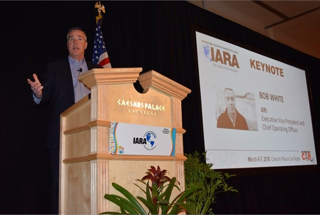Bob White of ARI during the IARA keynote on disruptions in the remarketing industry.