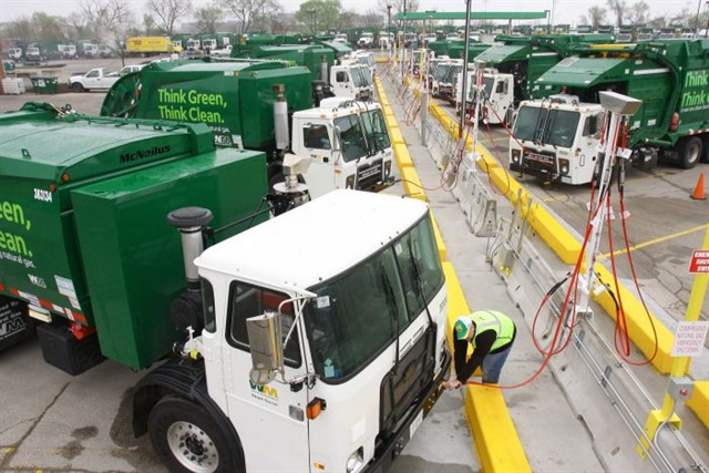 Natural gas vehicle purchases continued to be dominated by refuse fleets in the second quarter of 2017, as well as transit and school bus operators, according to ACT Research. Photo: Waste Management