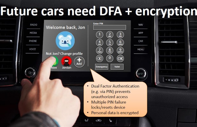 One solution brought forth to aid data privacy was the implementation of profiles within vehicle dashboards. In order for a user to log into the vehicle, they would need to enter a PIN. DFA is in reference to Dual Factor Authentication