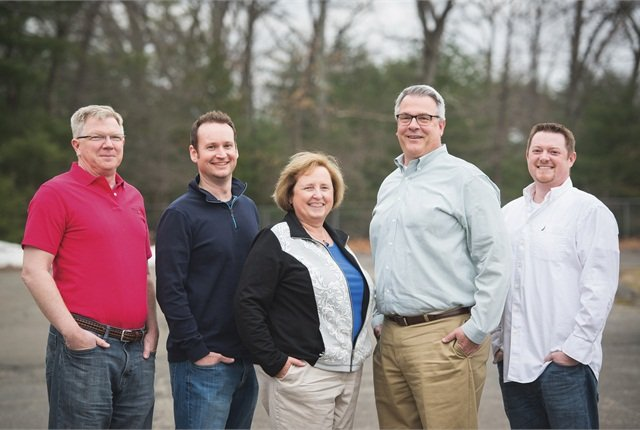 The management team at Motorlease consists of (l-r) Joe Pelehach, VP; Jeff Perkins, general manager, fleet operations; Beth Kandrysawtz, CEO; Brad Lutz, director of information technology; and Justin Mesick, controller. Photo courtesy of Motorlease.