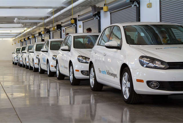 Fresh off the assembly line, Volkswagen's new electric Golf models were a highlight of the 2014-MY fleet preview.