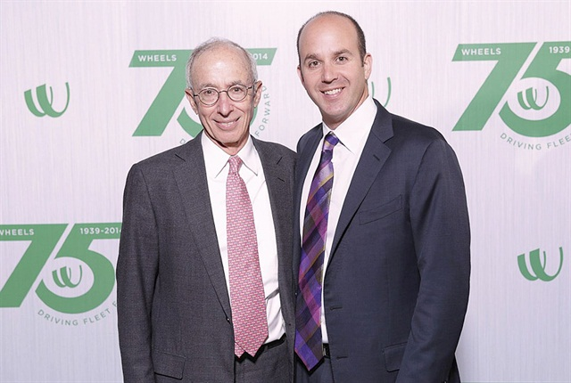 Dan Frank (right) becomes only the third Wheels president since it was founded in 1939 by Zollie Frank, Dan's grandfather, and Zollie's brother-in-law Amund Schoen. Zollie's son, Jim (left), became the second president in 1974. Dan has held various roles in the company during his 16-year tenure.