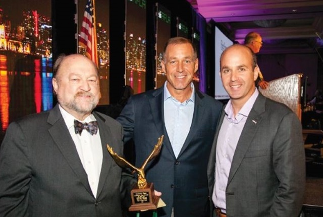 Dan Frank (right) along with Bobit Business Media Group Publisher Sherb Brown (center) congratulates AF Professional Fleet Manager of the Year George Survant. Photo courtesy of AFLA.