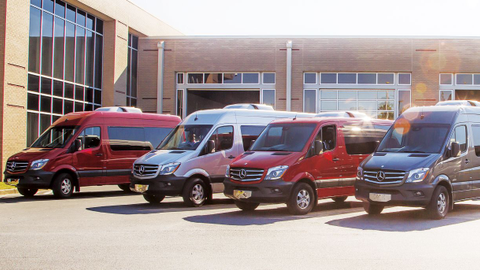Sprinter models are showcased at Mercedes-Benz's van reassembly plant in Ladson, S.C. Photo by...