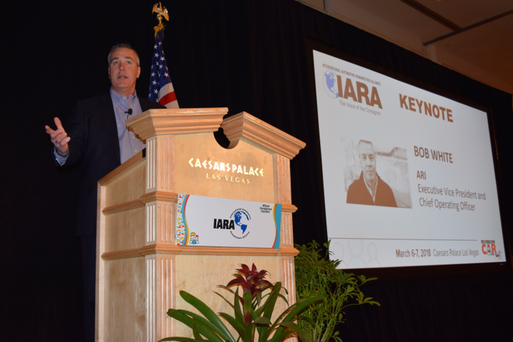 Bob White, president of ARI, discusses disruption in the automotive industry at the most recent International Automotive Remarketers Alliance (IARA) Spring Roundtable in Las Vegas. - Photo by Andy Lundin