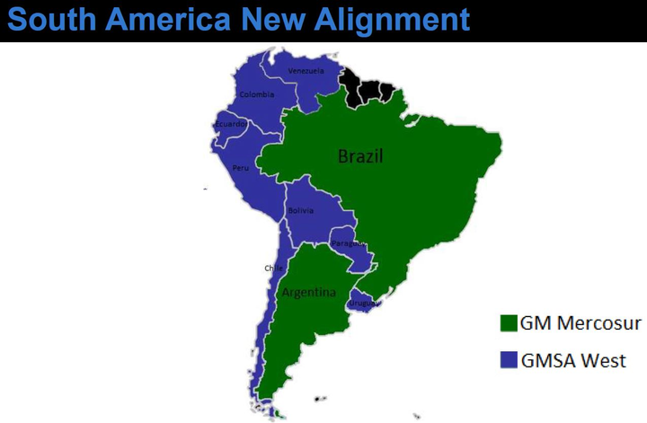 In 2010, GM reorganized its South America regional business unit by establishing three new subdivisions: GM Mercosur, GM Andina, and GM Central. GM Mercosur is comprised of Brazil and Argentina. GM Andina is comprised of Colombia, Ecuador, and Venezuela. GM Central is comprised of Bolivia, Chile, Peru, Uruguay, and Paraguay. Vehicle sales in the South American region are primarily under the Chevrolet brand. For the past 17 consecutive years, the Chevrolet brand has been the sales leader in South America. 