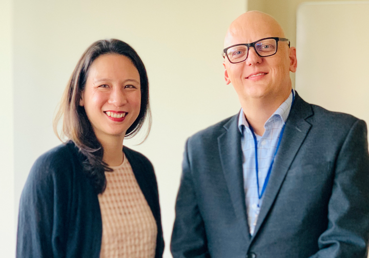 Grace Huang (left), Manheim president, shared her thoughts on the future of remarketing with Automotive Fleet's web editor, Paul Clinton, during a recent visit to Cox's Atlanta headquarters.