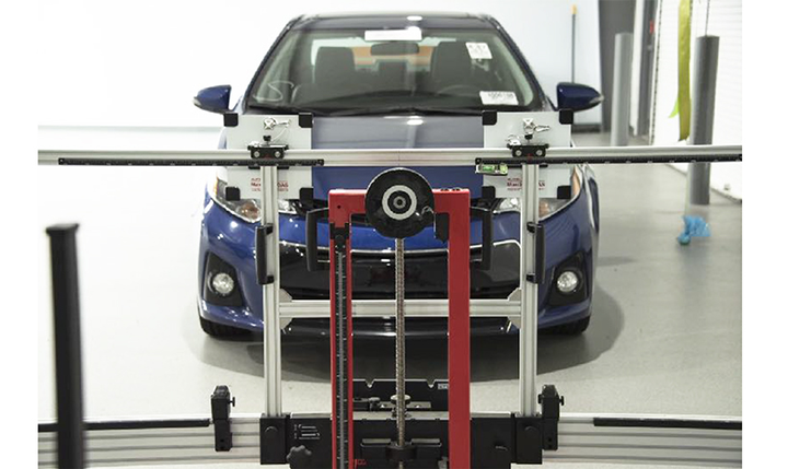 Technicians can calibrate advanced driver assistance systems at Cox's Pivet innovation lab in Atlanta.