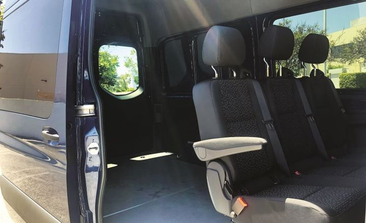The Sprinter Crew Van seating configuration features two front bucket seats and a second row three-passenger seat bench seat. Behind the second bench seat is a large cargo area with a payload capacity that ranges from 2,941 and 3,341 pounds.  - Photo: Mike Antich